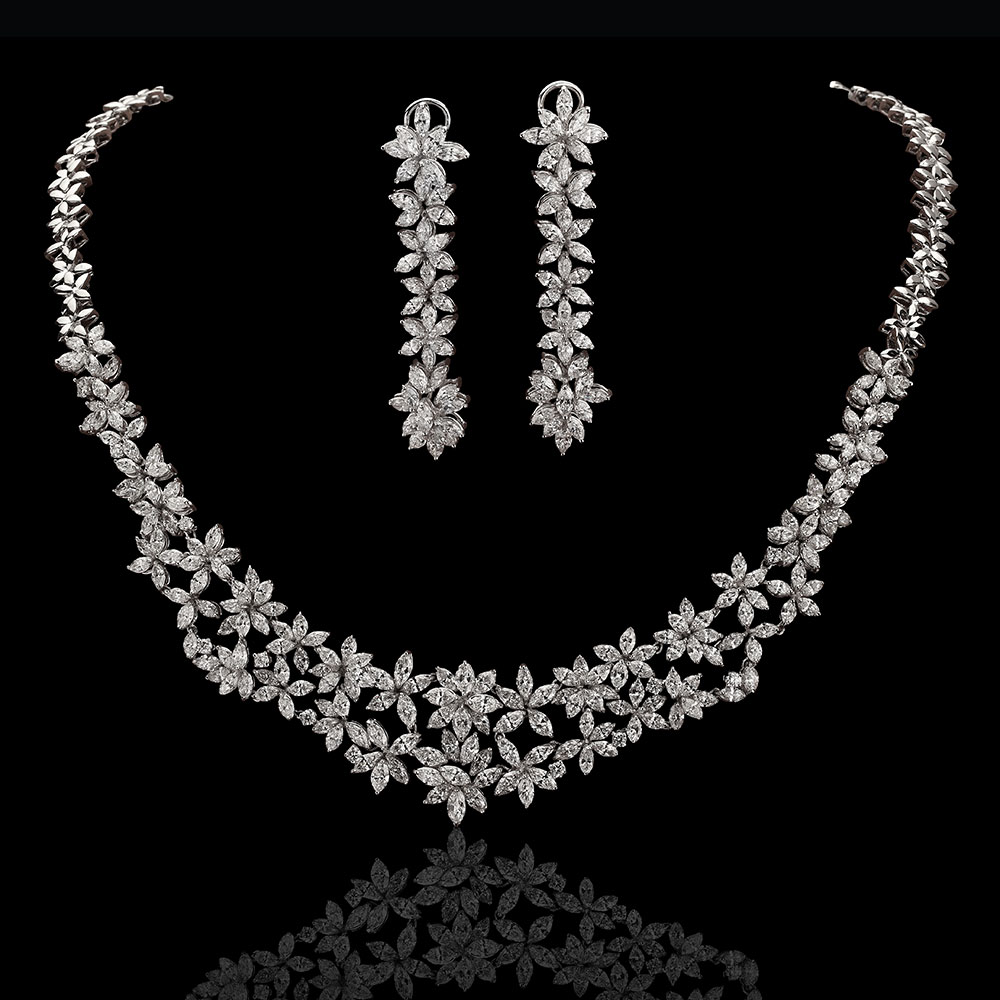 Floral Bridal All Diamond Necklace Set