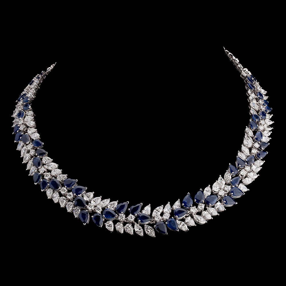 Blue Sapphire and Diamond Wreath Necklace