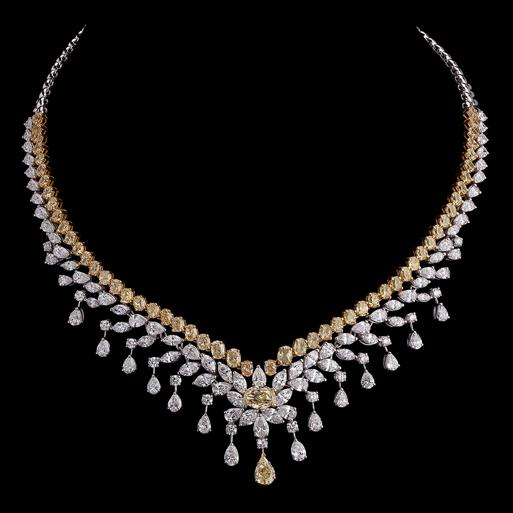 Canary and White Diamond Necklace