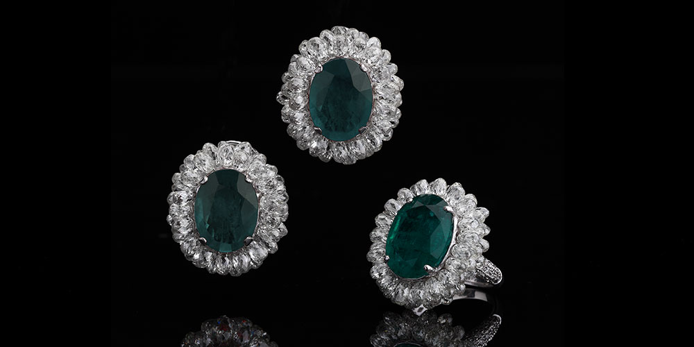 Zambian Emerald and Diamond Briolette Ring & Tops