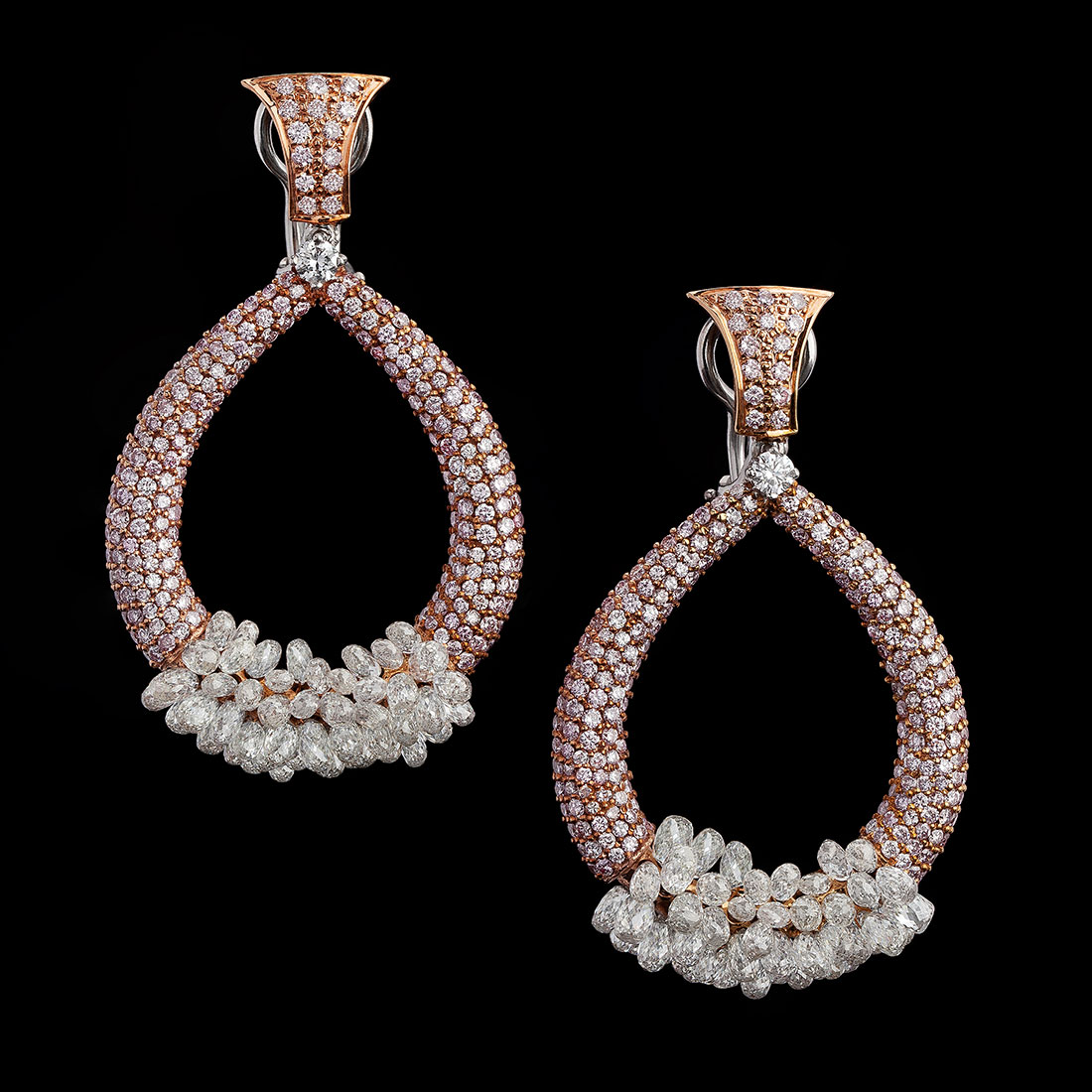 Pink Diamond and Briolette Earrings