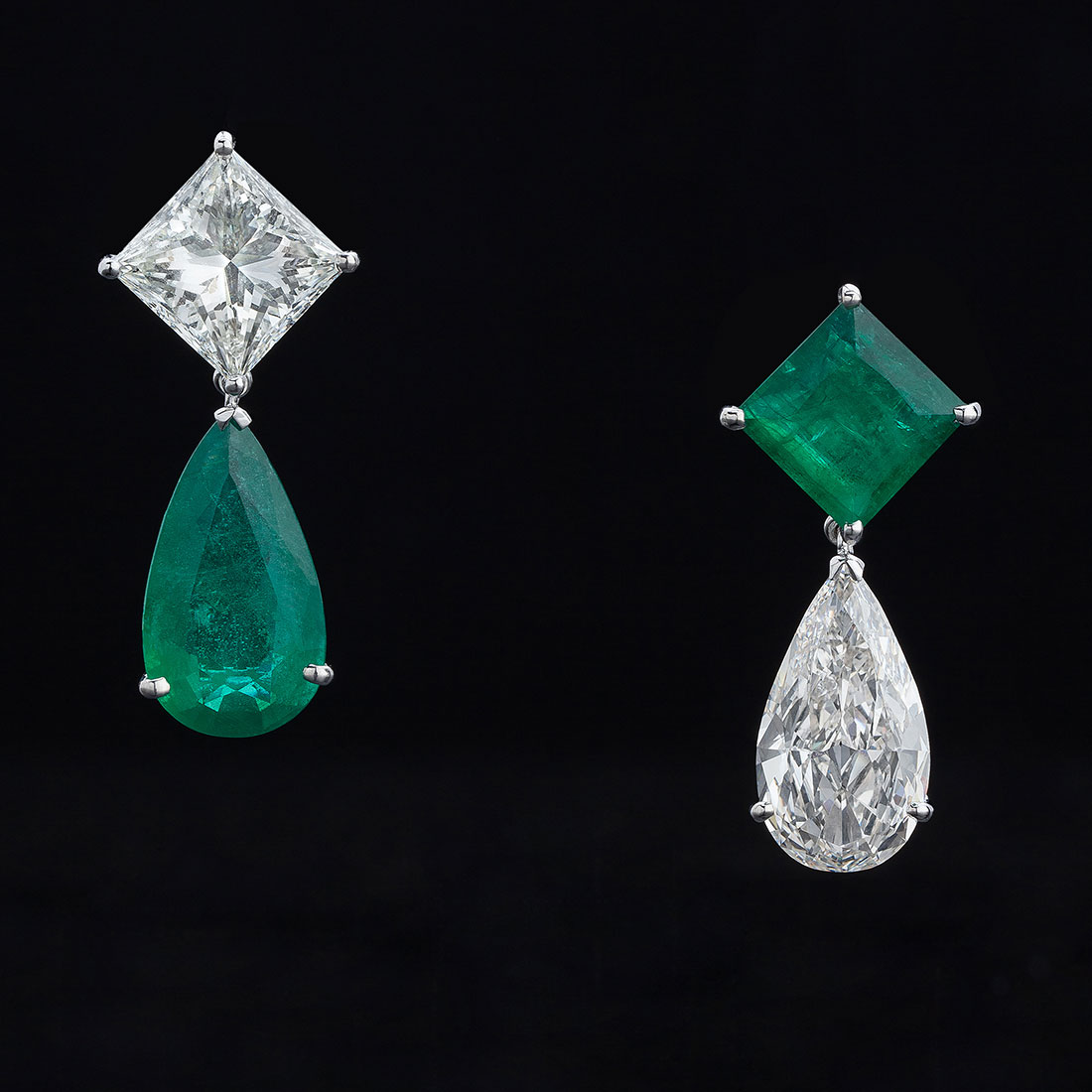 Eternal Solitaire Diamond and Emerald Earrings
