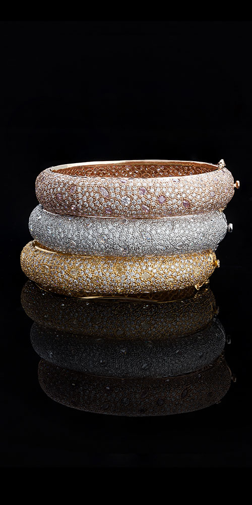 Tricoloured Stackable Diamond Bangles