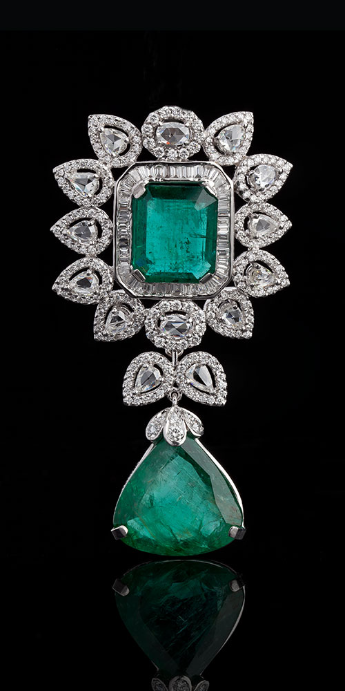 Art Deco Diamond Rosecut and Emerald Pendant
