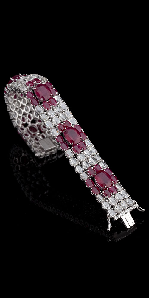 Art Deco Ruby and Diamond Rosecut Bracelet