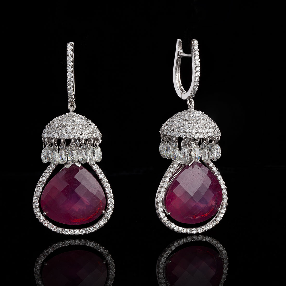 Contemporary Ruby and Diamond Briolette Jhumkis