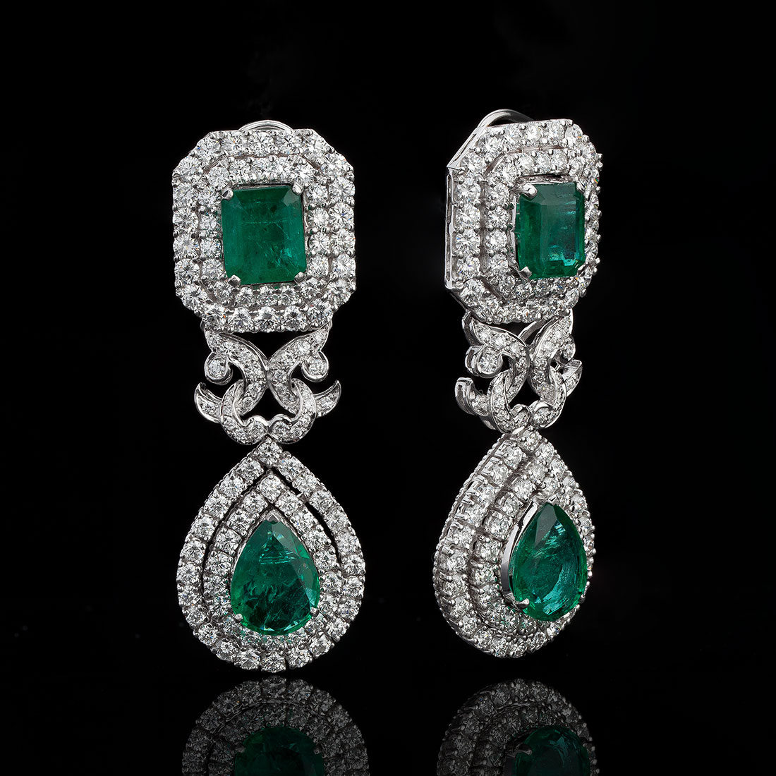 Zambian Emerald and Diamond Cocktail Earrings