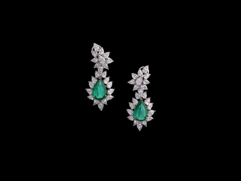 Emerald and Diamond Statement Earrings