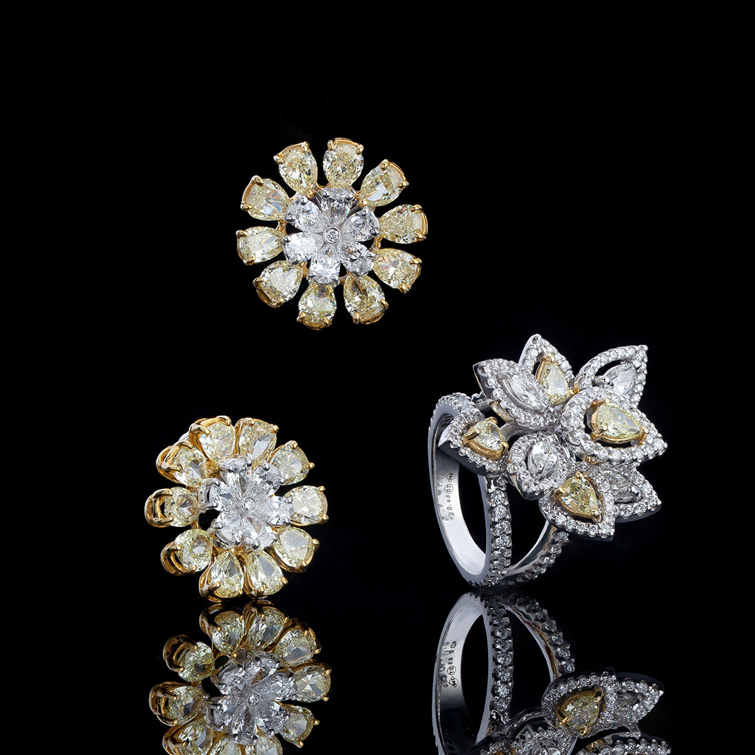 Canary and White Diamond Petal Ring & Floral Blooming Earrings