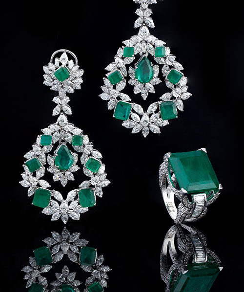 Emerald and Diamond Ring & Long Earrings