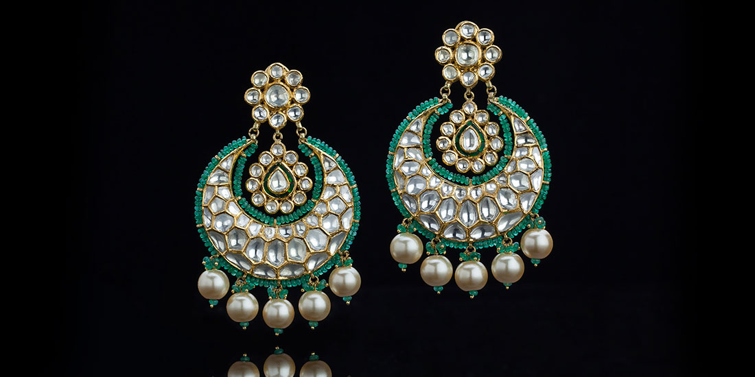 Classic Chand Balis with Emerald beads